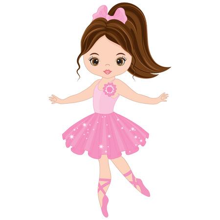 Illustration pour Vector cute little ballerina dancing. Vector ballerina girl in pink dress. Ballerina vector illustration - image libre de droit