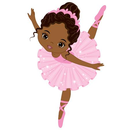 Ilustración de Vector cute little African American ballerina dancing. Vector ballerina girl in pink tutu dress. African American ballerina vector illustration - Imagen libre de derechos