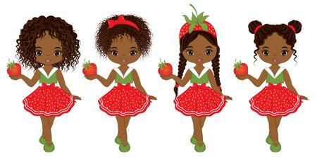 Ilustración de Vector cute little African American girls  with various hairstyles. Vector strawberry girls. African American girls vector illustration - Imagen libre de derechos