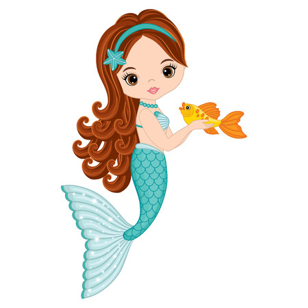 Ilustración de Vector cute little mermaid with fish. Mermaid vector illustration - Imagen libre de derechos