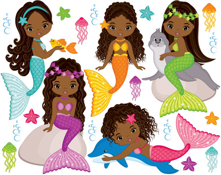 Illustrazione per Vector set with cute mermaids, dolphin, fur seal, fish, starfish, jellyfish and seaweeds. Vector beautiful little African American mermaids. Mermaids vector illustration - Immagini Royalty Free
