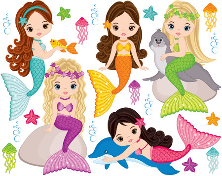 Illustrazione per Vector set with cute mermaids, dolphin, fur seal, fish, starfish, jellyfish and seaweeds. Vector beautiful little mermaids. Mermaids vector illustration - Immagini Royalty Free