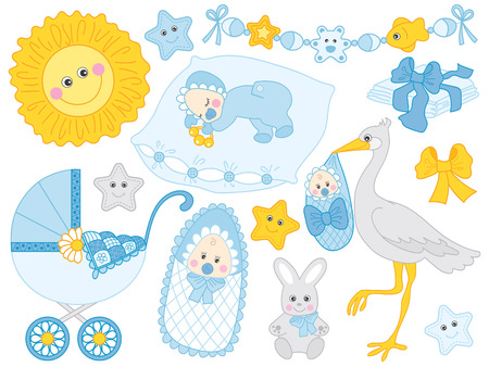Illustration pour Vector cute baby boy set. Set includes stroller, stork. bunny, sun and diapers in blue and yellow colours. Vector baby  boy shower. Baby boy vector illustration - image libre de droit