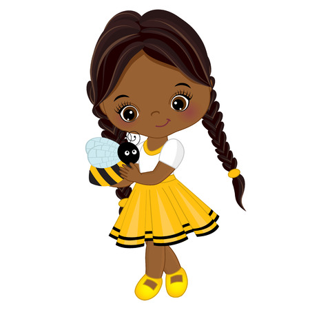 Illustration pour Vector cute little African American girl with bee. Little girl dressed in bee style. Little African American girl vector illustration - image libre de droit