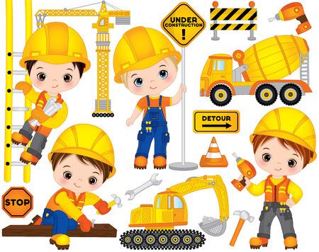 Illustration pour Vector construction set. Set includes cute little boys at work, tools, construction transport and road signs. Vector little builders. Construction vector illustration - image libre de droit