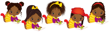 Ilustración de Vector cute little African American girls with various hair colors. Vector little African American artists painting. Little artists vector illustration - Imagen libre de derechos