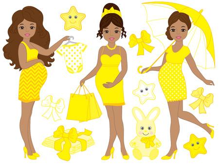 Ilustración de Vector set with beautiful pregnant African American women, baby clothes and toys. Vector baby shower. Pregnancy vector illustration - Imagen libre de derechos