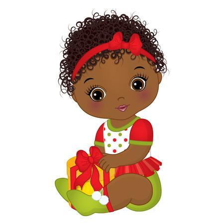Ilustración de Vector cute little girl wearing Christmas clothes. - Imagen libre de derechos