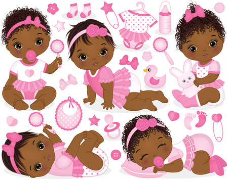 Illustration pour Vector set with cute African American baby girls, toys, clothes, decorations and various accessories. - image libre de droit