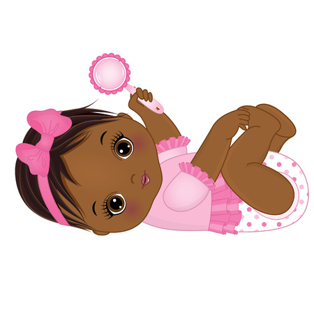 Illustration pour Vector cute African American baby girl with rattle. Vector baby girl. African American baby girl vector illustration. - image libre de droit