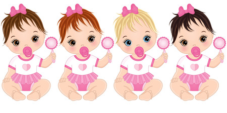Illustration pour Vector cute baby girls with rattles sitting. Vector baby girls with various hair colors. Vector baby girl. Baby girls vector illustration. - image libre de droit