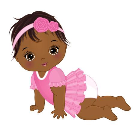 Ilustración de Vector cute African American baby girl crawling. Vector baby girl. African American baby girl vector illustration - Imagen libre de derechos