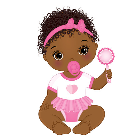 Illustration pour Vector cute African American baby girl with rattle sitting. Vector baby girl. African American baby girl vector illustration - image libre de droit