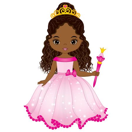 Illustrazione per Vector beautiful African American princess in pink dress with magic wand. Vector cute little African American girl. African American princess vector illustration - Immagini Royalty Free
