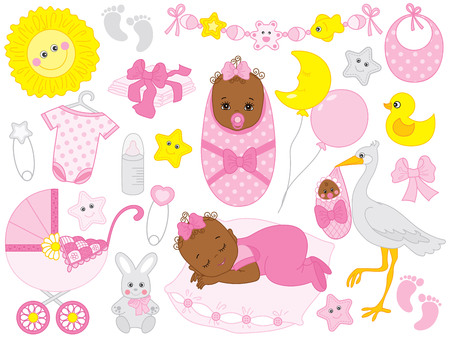 Ilustración de Vector baby girl set. Set includes cute African American baby girl, stroller, stork, baby clothes and toys. Vector baby girl shower. African American baby girl vector illustration - Imagen libre de derechos