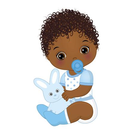 Ilustración de Vector cute African American baby boy with toy bunny. Vector baby boy with dummy. Vector baby boy shower. African American baby boy vector illustration - Imagen libre de derechos