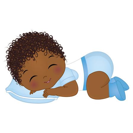 Ilustración de Vector cute African American baby boy sleeping. Vector baby boy shower. African American baby boy vector illustration - Imagen libre de derechos