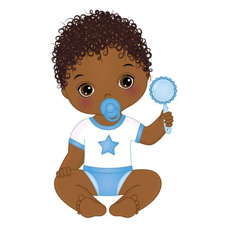 Ilustración de Vector cute African American baby boy with rattle. Vector baby boy with dummy. Vector baby boy shower. African American baby boy vector illustration - Imagen libre de derechos