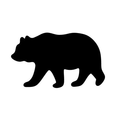 Illustration for Bear silhouette. Vector illustration isolated on white background for print and poster. Typography design. - Royalty Free Image