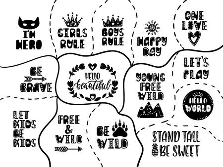 Ilustración de Set of nursery prints in doodle style on black background. Cute lettering designs. Hand drawn inspiration quotes. Vector illustration. - Imagen libre de derechos