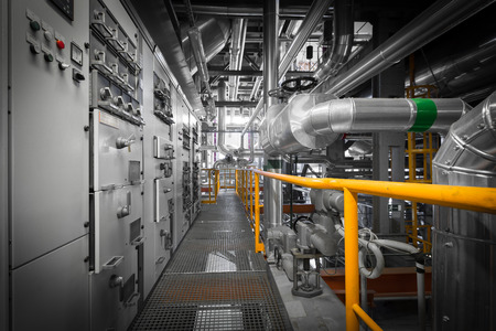 Photo for equipments, pipes in a modern thermal power station - Royalty Free Image