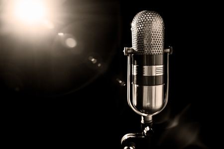 Photo for an old pro studio microphone, close up photo - Royalty Free Image
