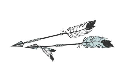 Illustration for vector illustration two arrows decorated with feathers - Royalty Free Image