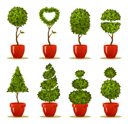 Ilustración de Vector illustration of a garden seedlings, a tree in a box and pot of retro postcard - Imagen libre de derechos
