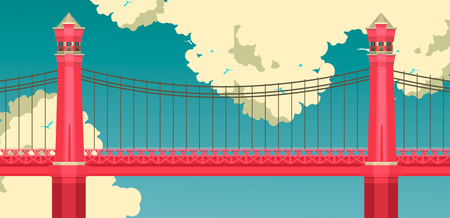 Illustration pour Vector illustration of a red bridge on a sky background with clouds, summer sunny day - image libre de droit