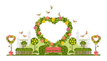 Ilustración de Wedding arch on a white background of plant elements and flowers, park beautiful figures of topiary for a wedding ceremony in the shape of a heart - Imagen libre de derechos