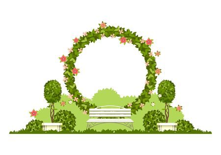 Illustration pour Wedding arch on a white background of plant elements and flowers, park beautiful figures of topiary for a wedding ceremony in the form of a circle - image libre de droit