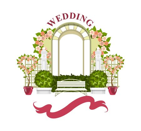 Illustration pour Wedding arch on a white background of plant elements and flowers, park beautiful figures of topiary for a wedding ceremony - image libre de droit