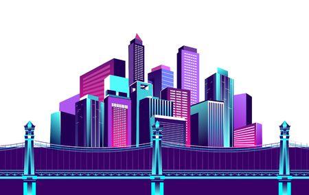 Ilustración de vector illustration neon colored multicolored night city in electric lights bridge over canal to megalopolis road white background - Imagen libre de derechos