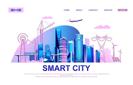 Illustrazione per Vector illustration of a conceptual horizontal advertising banner with modern houses of a big city, infrastructure, transport and all communications, landing page, - Immagini Royalty Free