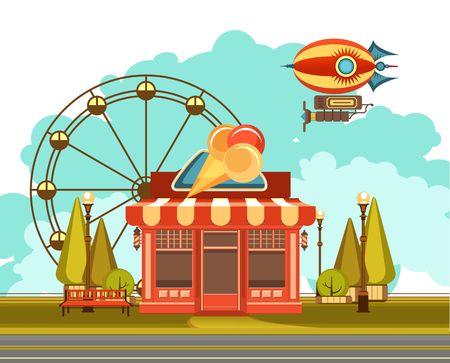 Illustration pour vector illustration of an ice cream shop at the amusement Park, the sky flying a blimp and a Ferris wheel - image libre de droit