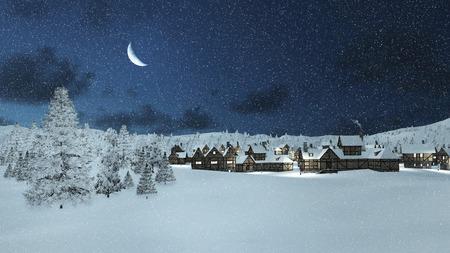 Foto de Dreamlike winter scene. Snowbound traditional european township and snowy firs at snowfall night with a half moon. - Imagen libre de derechos