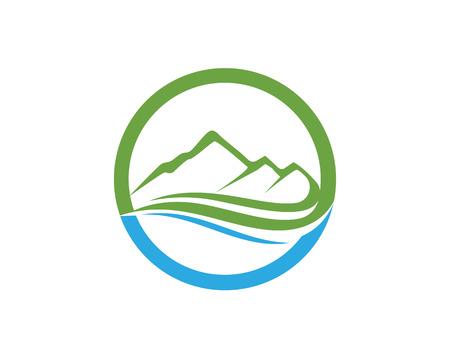 Ilustración de Mountain and water Logo Business Template Vector - Imagen libre de derechos