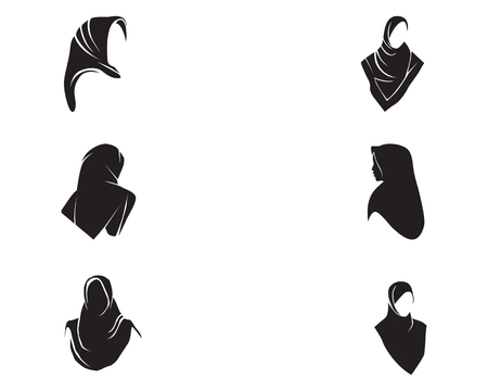 Illustration for Hijab women black silhouette vector icon set - Royalty Free Image
