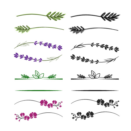 Ilustración de Twig and branch dividers for text or logo. Floral design elements. - Imagen libre de derechos