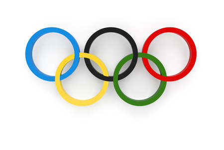 Foto de RIO DE JANEIRO, BRAZIL - AUGUST, 05, 2016: 3D Rendering of the Olympic Rings Composition Isolated on White Background - Imagen libre de derechos