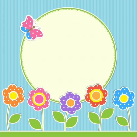 Photo for Round frame with flowers and butterfly - Royalty Free Image
