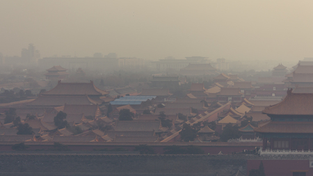 Photo for High and wide angle horizontal shot of the Forbidden City in Beijing China, on a foggy day. - Royalty Free Image