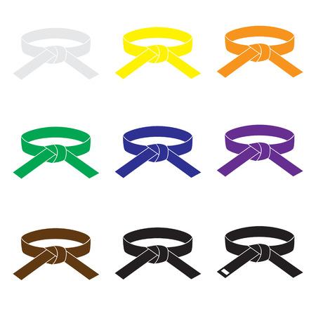 Illustration pour karate martial arts color belts icons set eps10 - image libre de droit