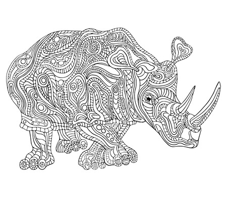 Illustration for Hand drawn vector illustration with geometric and floral elements. Original hand drawn Rhinoceros. - Royalty Free Image