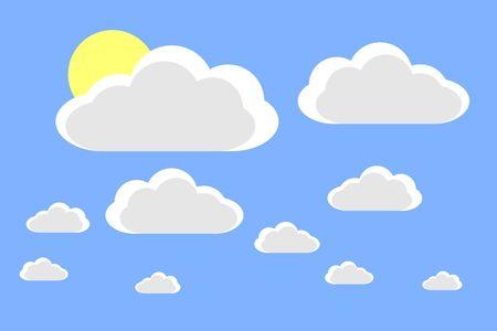 Illustrazione per Cartoon clouds and sun. Vector illustration on blue background for design - Immagini Royalty Free