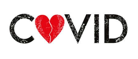 Ilustración de Covid - Word mixed with vector heart instead of letter 0. Typographic semanticization for t-shirt or poster designs. - Imagen libre de derechos