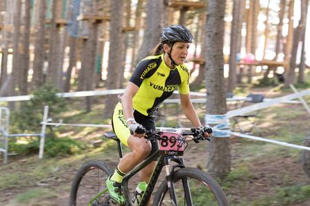 Photo pour Vallnord, La Massana, Andorra. 17 July 2018. XCO MOUNTAIN BIKE MASTER WORLD CUP 2018, UCI, Mountain Bike World Cup MAsters 2018, Vallnord Andorra. 17/07/2018 Credit: Martin Silva Cosentino / Alamy Live News - image libre de droit