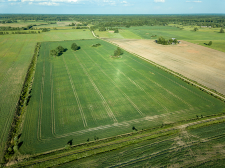Photo for drone image. aerial view of empty cultivated fields  spring day. latvia - Royalty Free Image