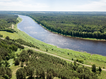 Photo for drone image. aerial view of Daugava river, largest in Latvia. warm summer day with light clouds - Royalty Free Image