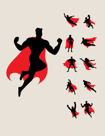 Illustration pour Superhero Silhouettes, art vector design - image libre de droit
